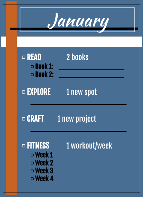 checklist of January goals