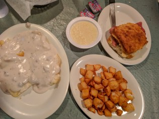 biscuits & gravy, homefries, and a ham biscuit