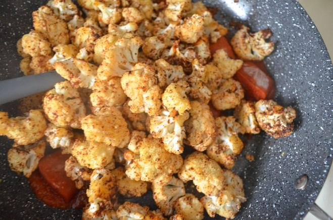 roasted cauliflower and enchilada sauce