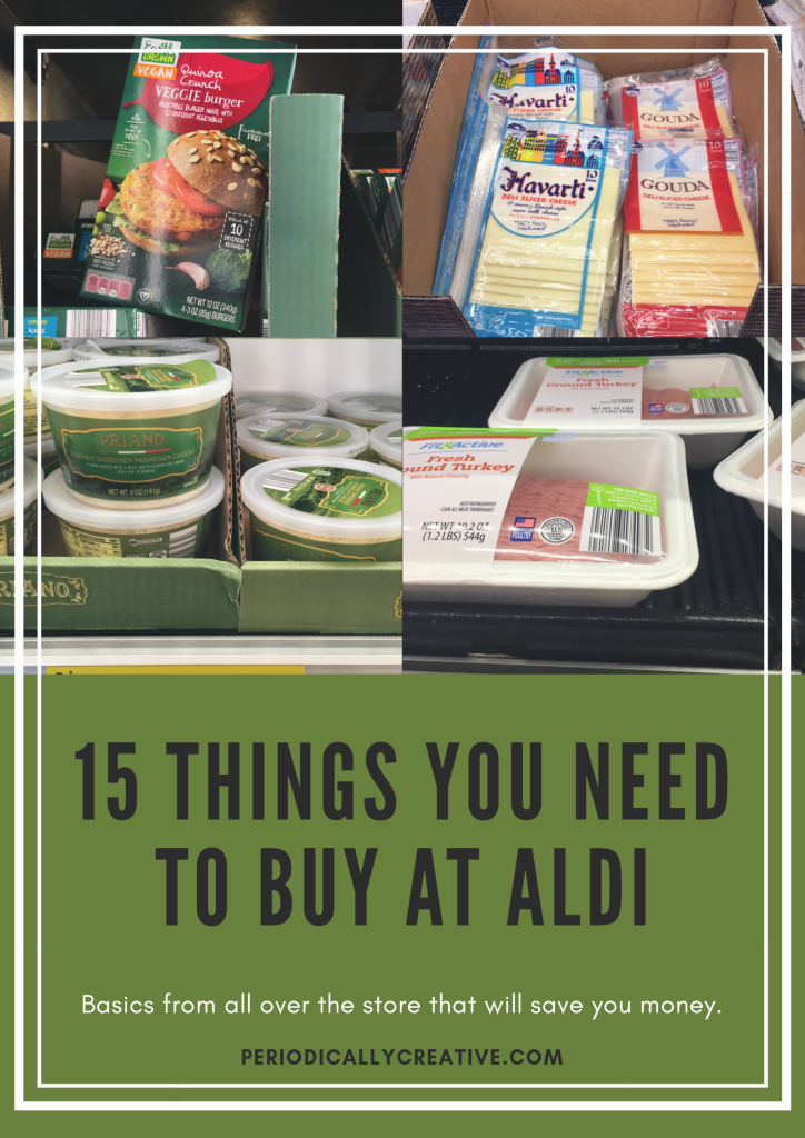 A list of the 15 best groceries to buy at Aldi to save money. Everything from pantry and fridge basics to specialty items.