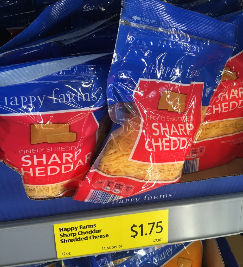 Aldi has a variety of shredded cheeses