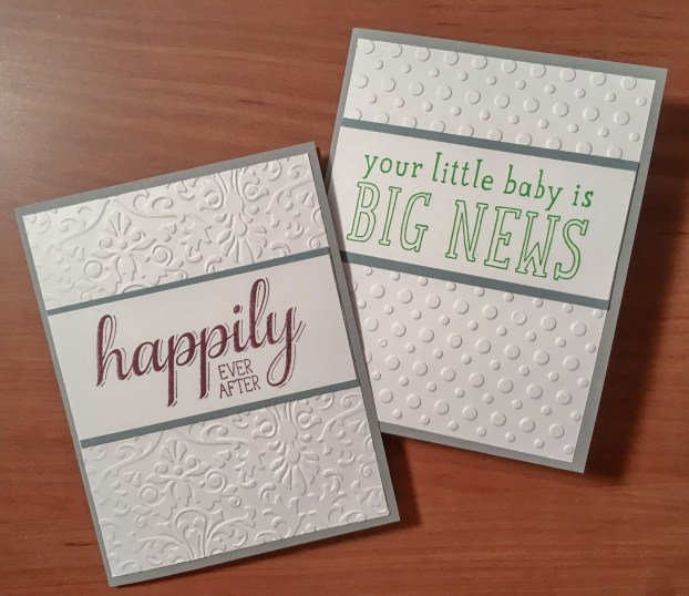 Make two cards efficiently with this card layout for big sentiments.
