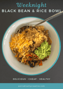 A weeknight meal for meatless Monday or vegetarians. Black beans and rice come together with peppers and spices to make a comforting bowl.
