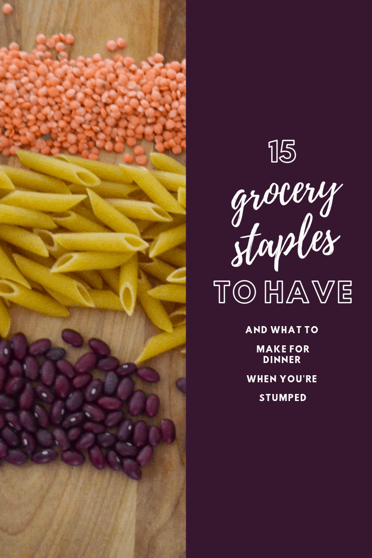 Budget grocery staples to have on hand. AND what to do with them when you have no idea what to make for dinner. #dinnerinapinch #easydinner