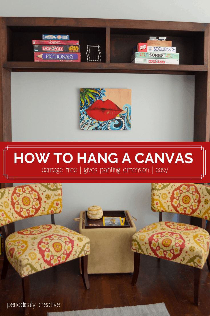 An easy way to hang a canvas painting without damaging your walls. You just need to secure a few things to the back of your canvas. #homedecor #gallerywall #artwall #art #diy
