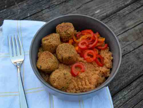 A bowl with couscous, red peppers, & Boca's Chipotle Falafel Bites.