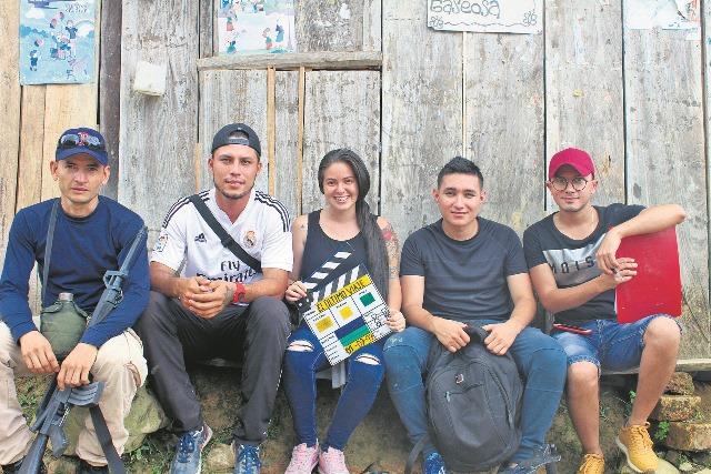 Equipo de producción de El Último Viaje: Jaime Rodríguez, Karen Gómez, David Galvis y Yeison Mejía. /FOTO TATIANA NIÑO.