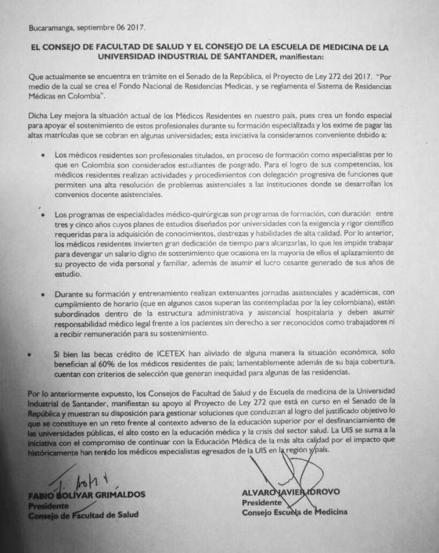 Pronunciamiento de la Facultad de Salud y el Consejo de la Escuela de Medicina de la Universidad Industrial de Santander (UIS). FOTO/ SUMINISTRADA POR CAMILO ARENAS GALLO.