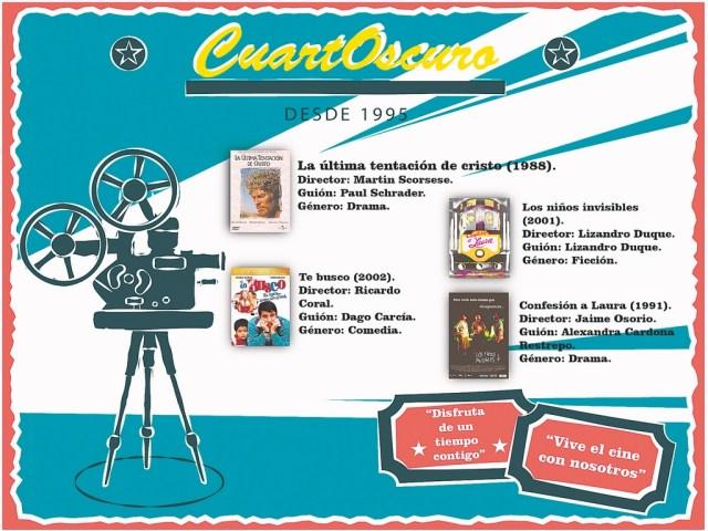 Infografía de películas proyectadas antiguamente en CuartOscuro.