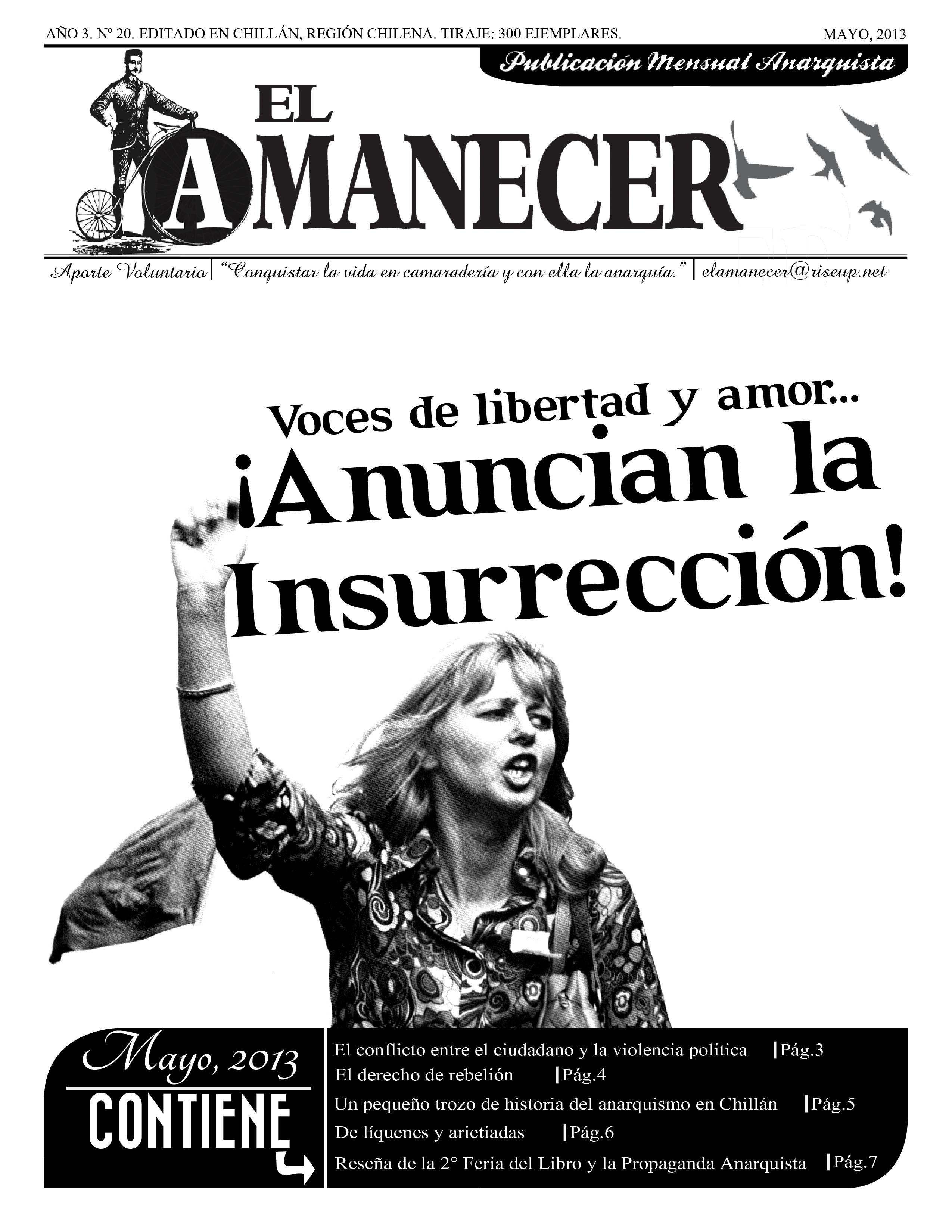 $hile: Sale El Amanecer, periódico mensual anarquista, nº