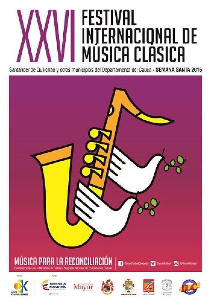 Afiche Festival Internacional de Música Clásica de Santander de Quilichao 2016