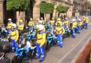 DAN BANDERAZO DE SALIDA A NUEVOS EQUIPOS DE EMERGENCIA, SE TRATA DE 40 MOTOCICLETAS-AMBULANCIAS DEL ERUM Y LA CRUZ ROJA