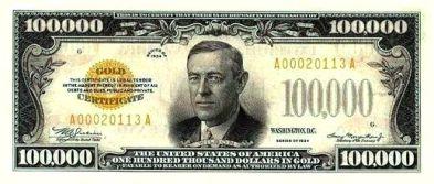 100000 Dollar Bill Front
