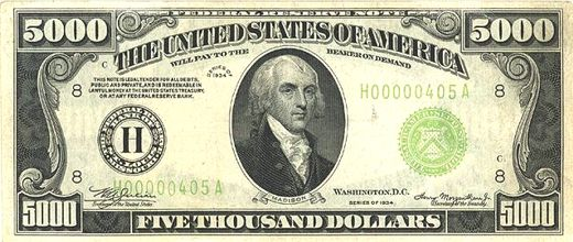 Images of a 1000 dollar bill