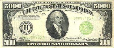5000 Dollar Bill Front