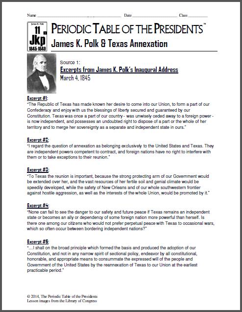 James k polk texas annexation the periodic table of the james urtaz Gallery