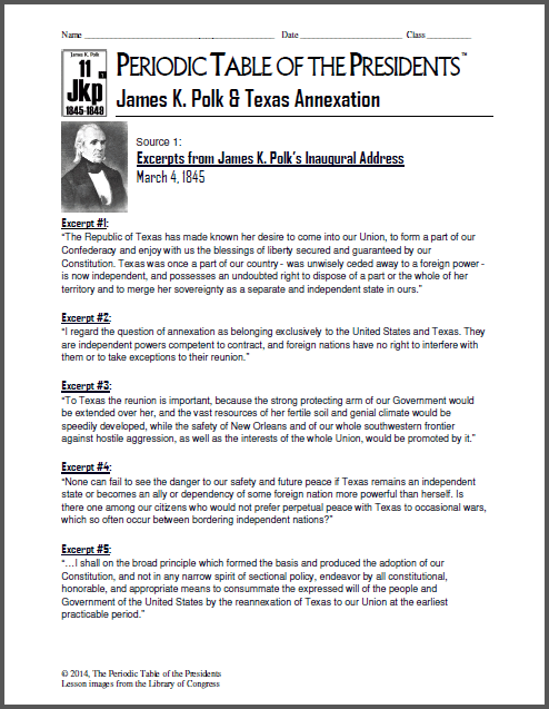 Periodic table of the presidents archives the periodic table of new lesson james k polk texas annexation urtaz Gallery