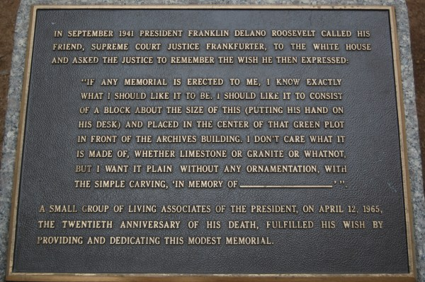 Original FDR memorial plaque