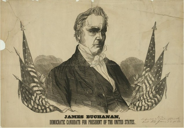 15 James Buchanan - Democratic Candidate for President of the United States, wood engraving with letterpress, c. 1856