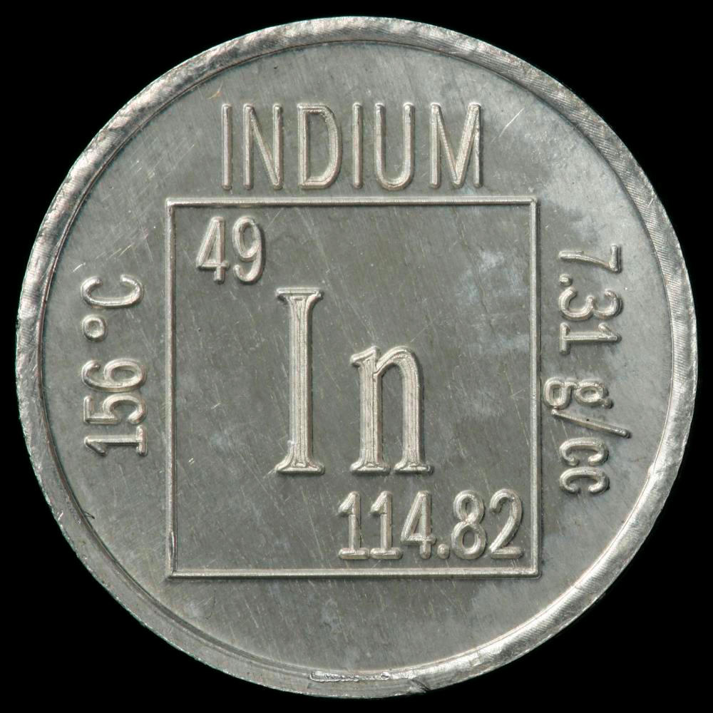 hight resolution of indium element coin