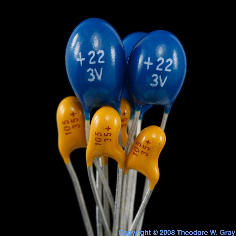 Tantalum capacitors a sample of the element Tantalum in
