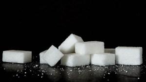 Un profesor de ciencias muestra cuánta azúcar hay en una gaseosa