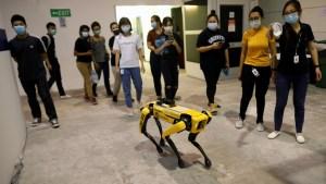 Un robot de cuatro patas ayuda a mantener el distanciamiento social en Singapur