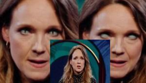Comediante alemana muestra sus ojos reptilianos en un show en vivo