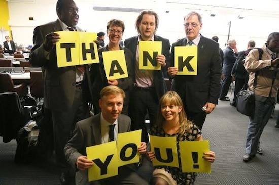 Delegados/as de Amnistía Internacional en la Conferencia de la ONU sobre el Tratado de Comercio de Armas.
