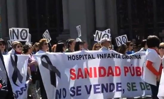 Manifestación de profesionales de la sanidad madrileña el 21 de abril de 2013