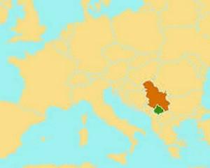 Localización de Kosovo (en verde) en Europa