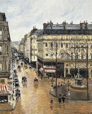 Pissarro: la rue St. Honoré sous l'effet de la pluie