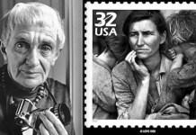 """Retrato de Dorothea Lange en 1965 y sello conmemorativo """"América sobrevive a la Depresión"""" con su foto a Florence Owens Thompson (1936)"""