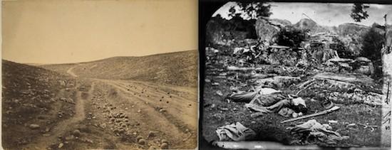 """""""Cadáveres, no"""" (Fenton, izquierda) vs. la realidad de la guerra (Brady, derecha)"""