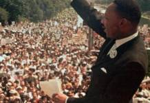 "Martin Luther King en su famoso discurso ""I have a dream"" el 28 de agosto de 1963"