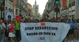Manifestación en Málaga, España, contra los desahucios de personas en precario.