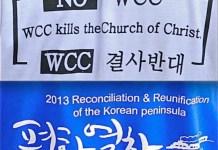 X Asamblea del Consejo Mundial de Iglesias en Busan, Corea. Camisetas contra y a favor de la Asamblea (detalle)