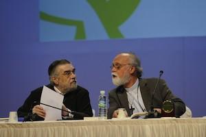 Walter Altman, y Genadios de Sósima, quien continúa como vicepoderador del Consejo Mundial de Iglesias (CMI)