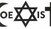 Logotipo alusivo a la coexistencia de las religiones monoteístas: islam, judaísmo y cristianismo