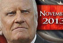 Billy Graham. Noviembre de 2013