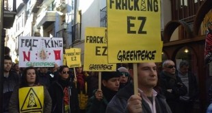 Protesta contra el fracking organizada por Greenpeace