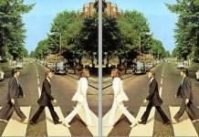 "The Beatles. Imagen de portada de 'Abbey Road"" original (izquierda) e invertida horizontalmente (derecha)"
