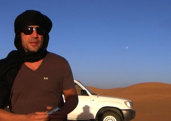 Javier Barden en el rodaje en el desierto del Sahara