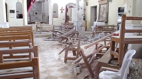 Iglesia arrasada en Sadad