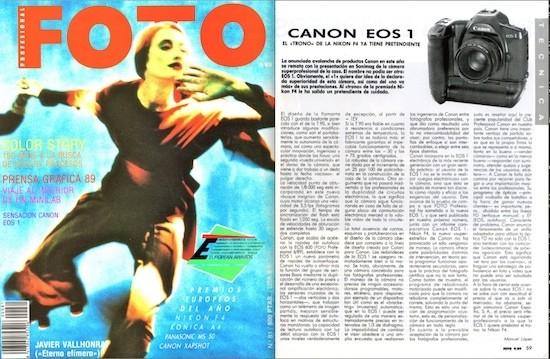 "Canon Eos 1. ""Sensación Canon"", primicia informativa en FOTO, septiembre de 1989"