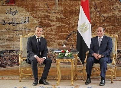 Encuentro de los dos presidentes Enmanuel Macron con Abdelfatah Al Sisi