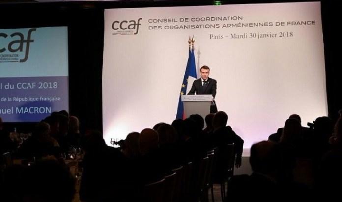 Enmanuel Macron durante la cena de la CCAF donde realizó el anuncio del día oficial sobre el Genocidio Armenio.