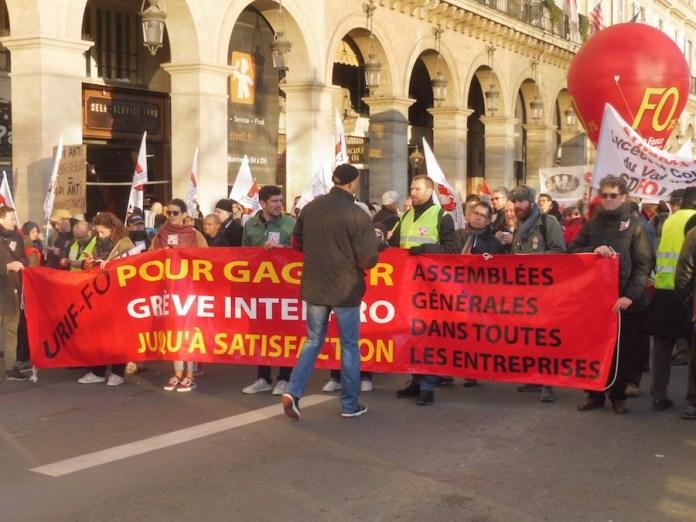 sindicato FO huelga gilets jaunes