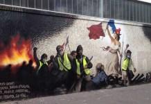 Julio Feo: mural en honor de los gilet jaunes, Paris, marzo de 2019