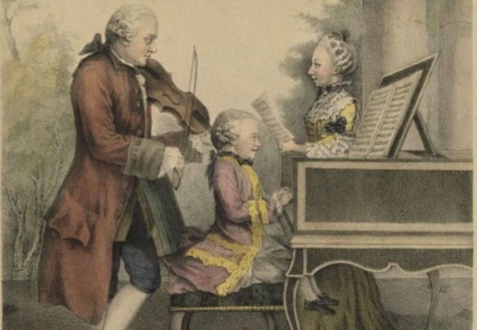 Leopold, Maria y Wolfgang Amadeus Mozart. Litografía de Carmontelle